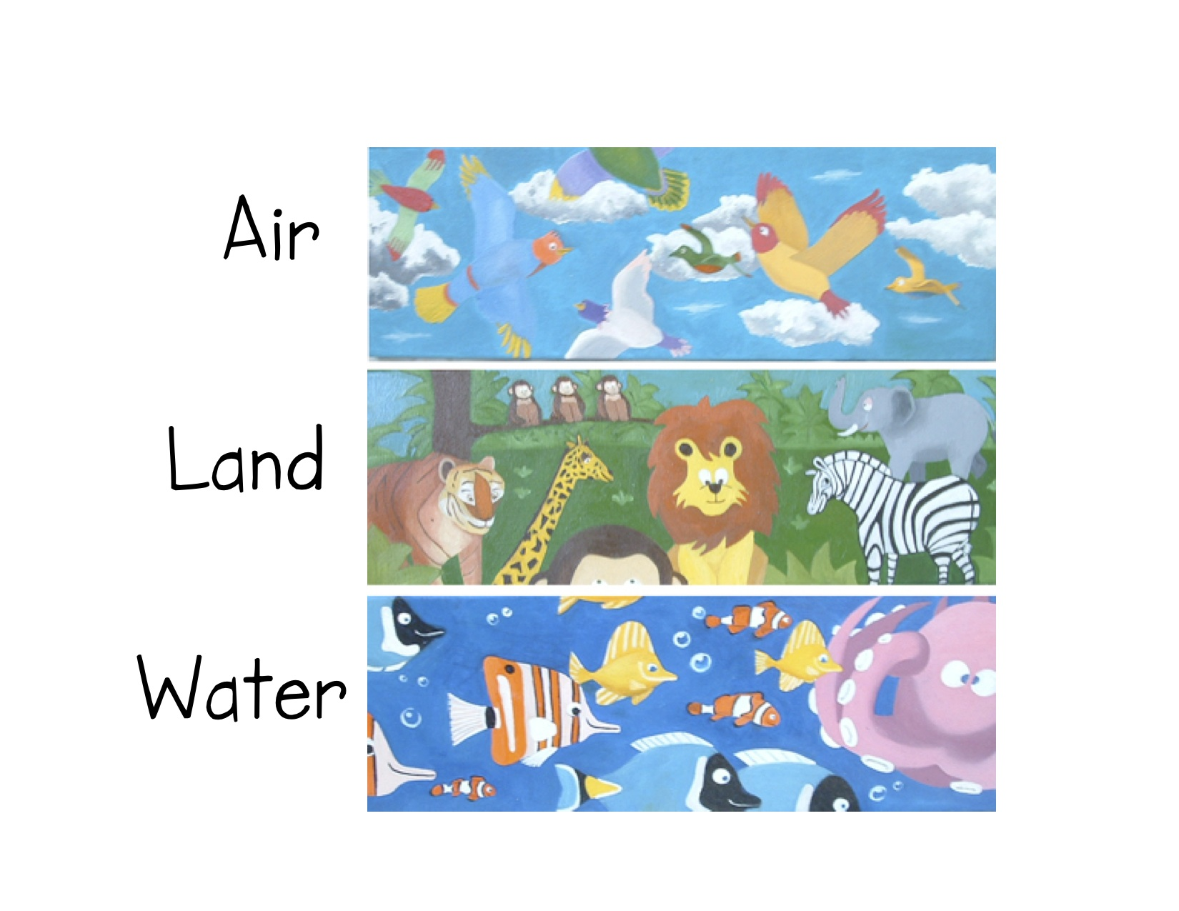 What kind of Pictures animals live land water