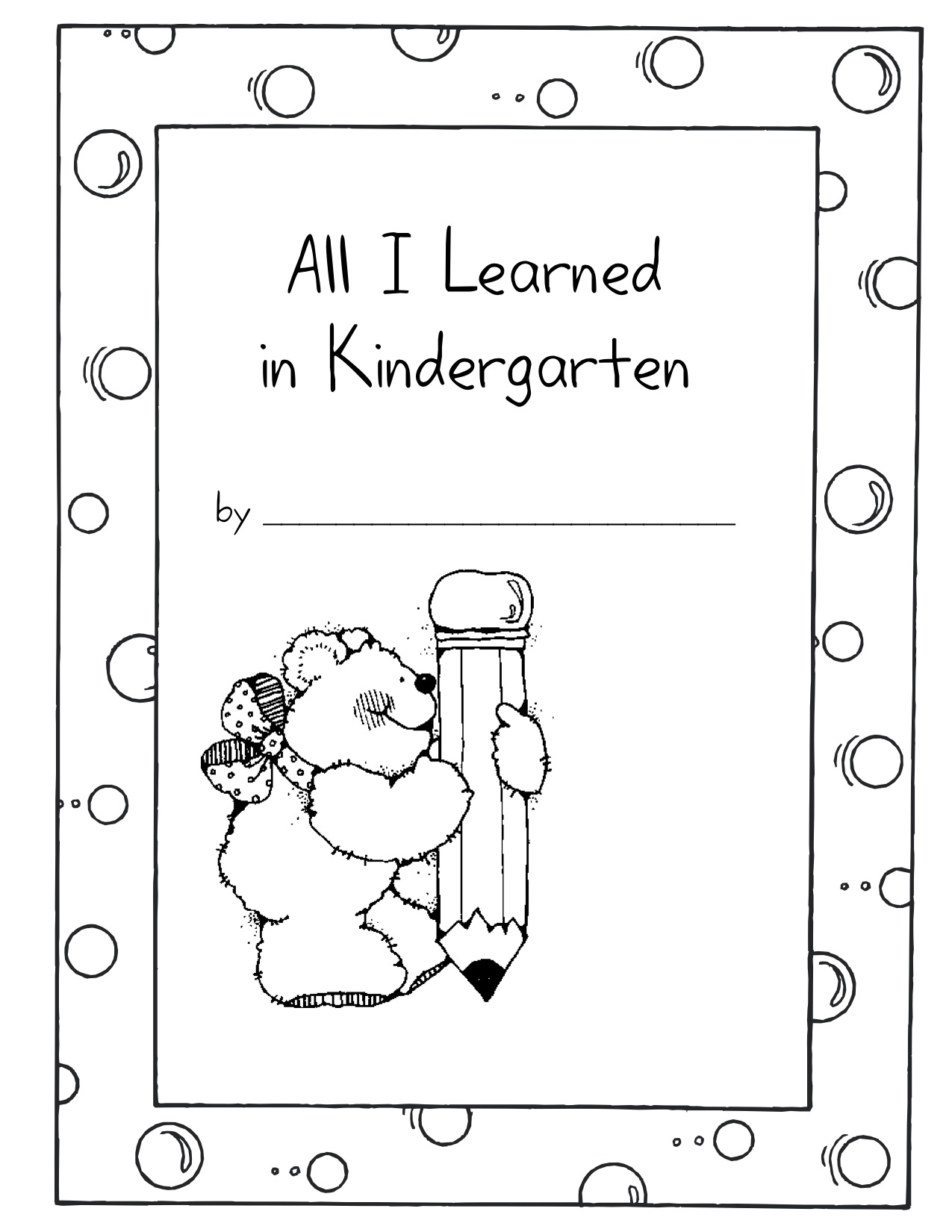 Printable Handwriting Book Cover ~ All i learned in kindergarten nana