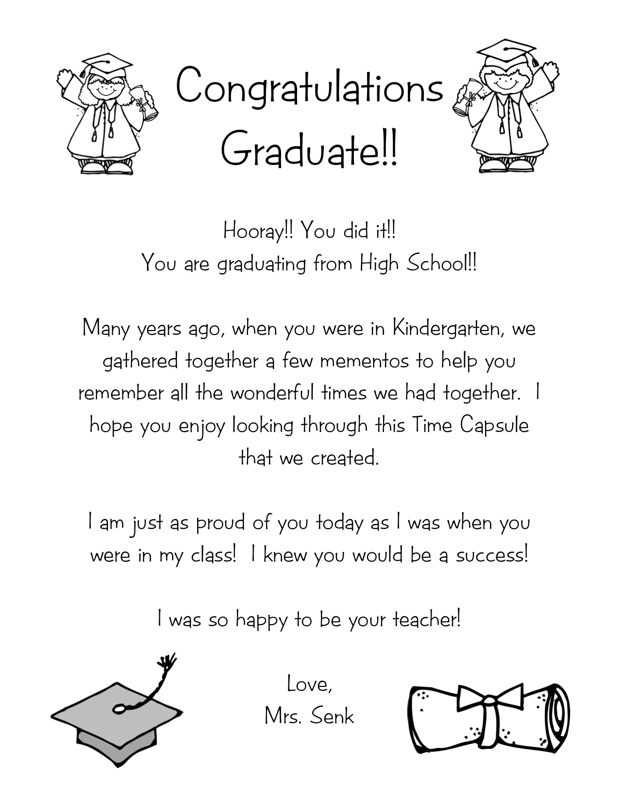 time capsule letter kindergarten nana kelly