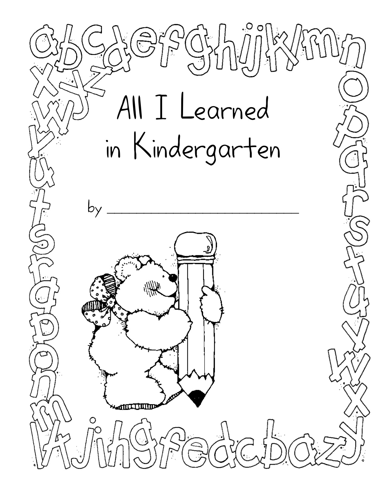 Kindergarten book cover ideas ~ all i learned in kindergarten nana