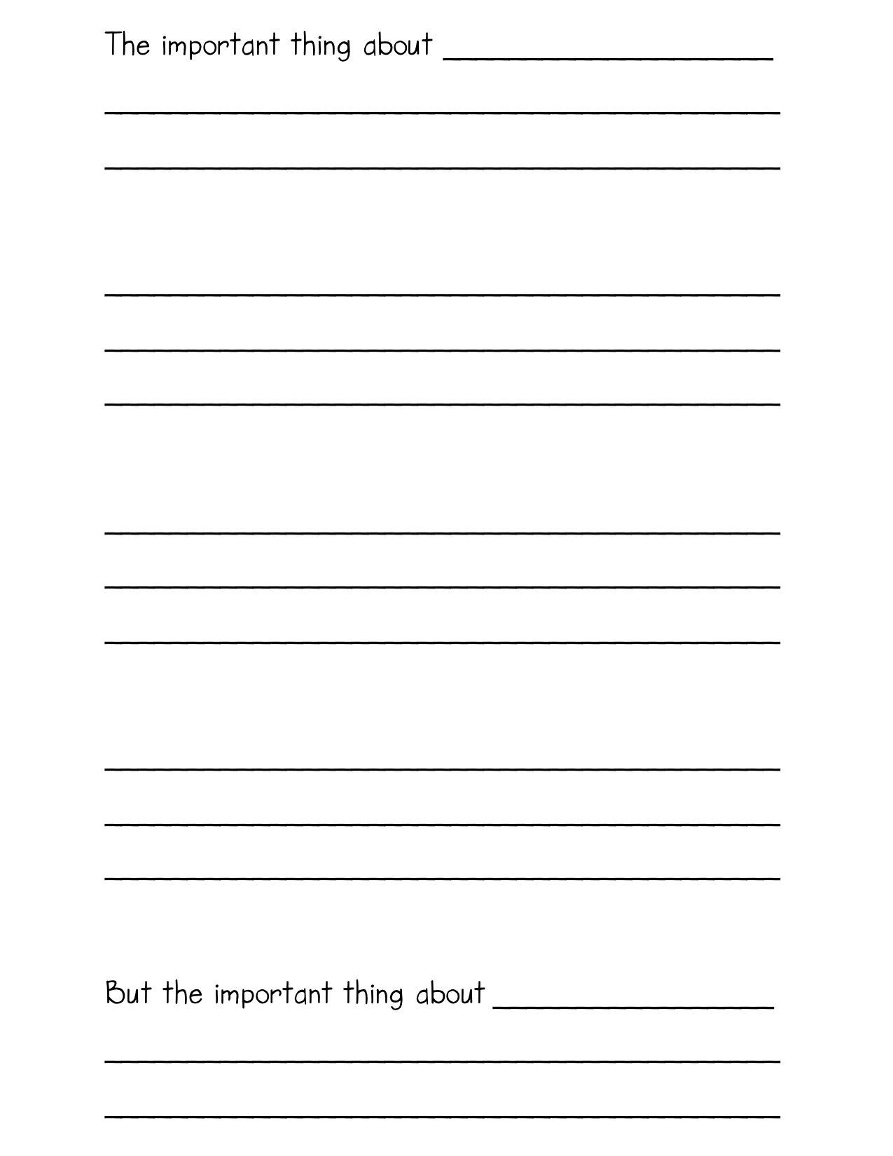 writing template kindergarten