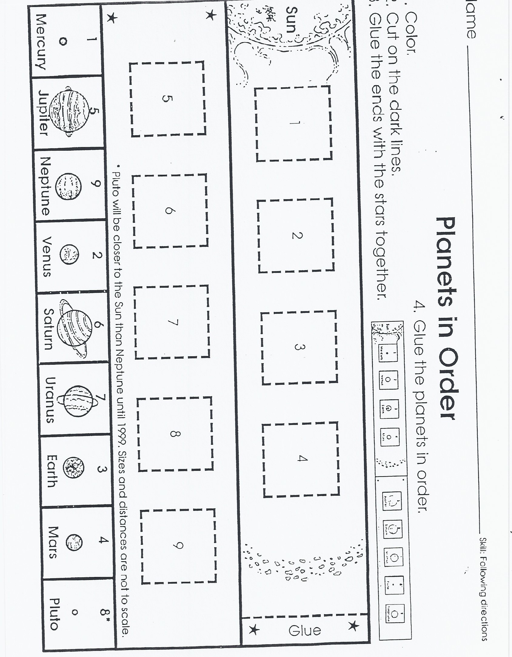 put planets in order worksheet page 2 pics about space
