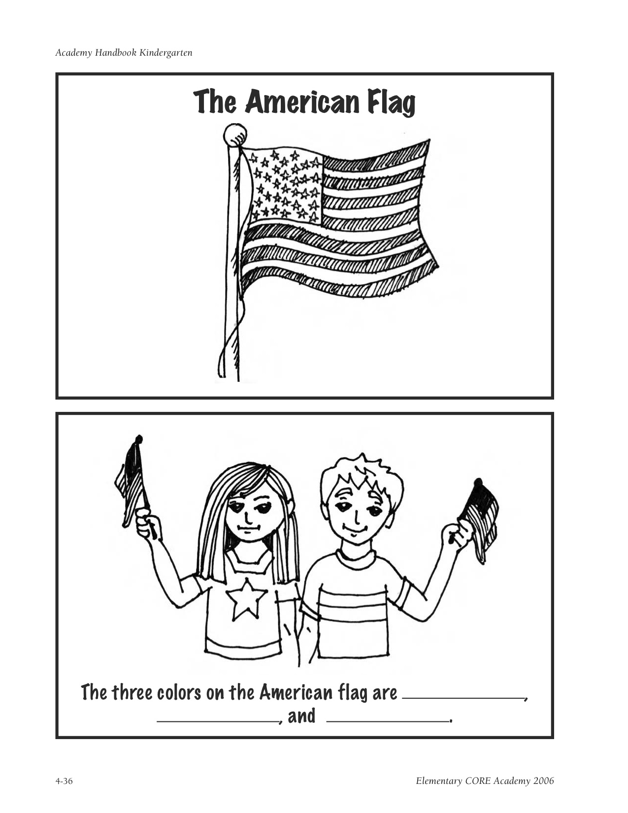 The pledge of allegiance kindergarten nana for American flag coloring page for first grade