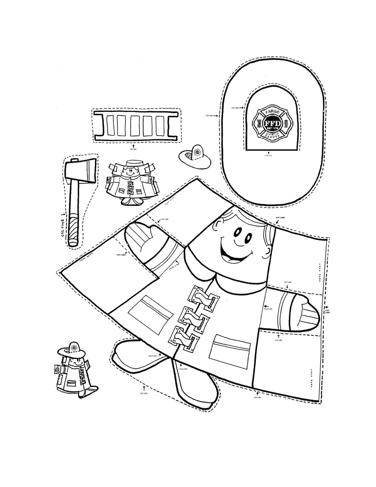 Free coloring pages of firefighter badge for Firefighter hat template preschool