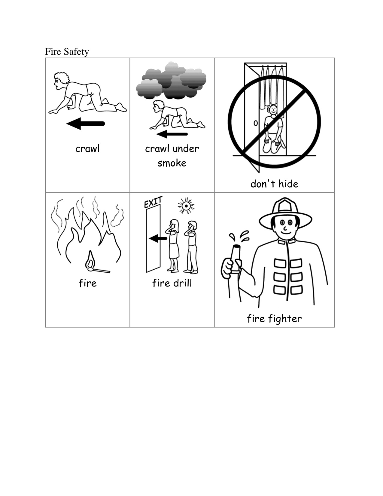 Worksheets Fire Safety Worksheets fire safety kindergarten nana picture cards picts