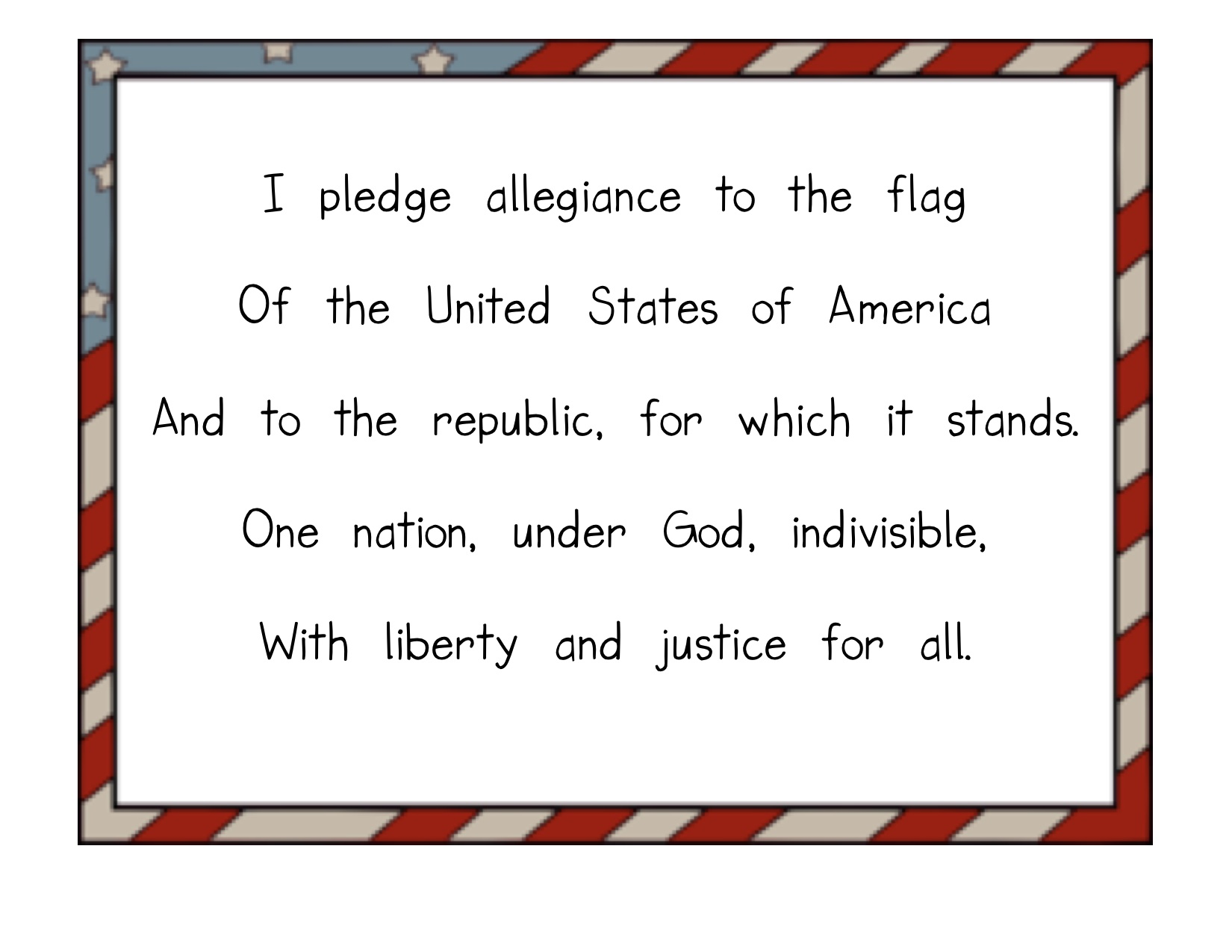 Candid image pertaining to pledge of allegiance printable