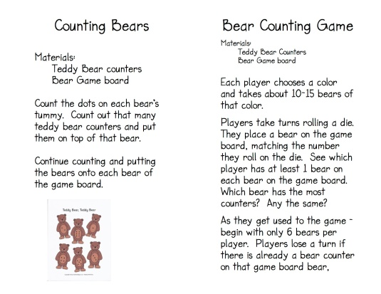 Teddy Bear Game Directions 2