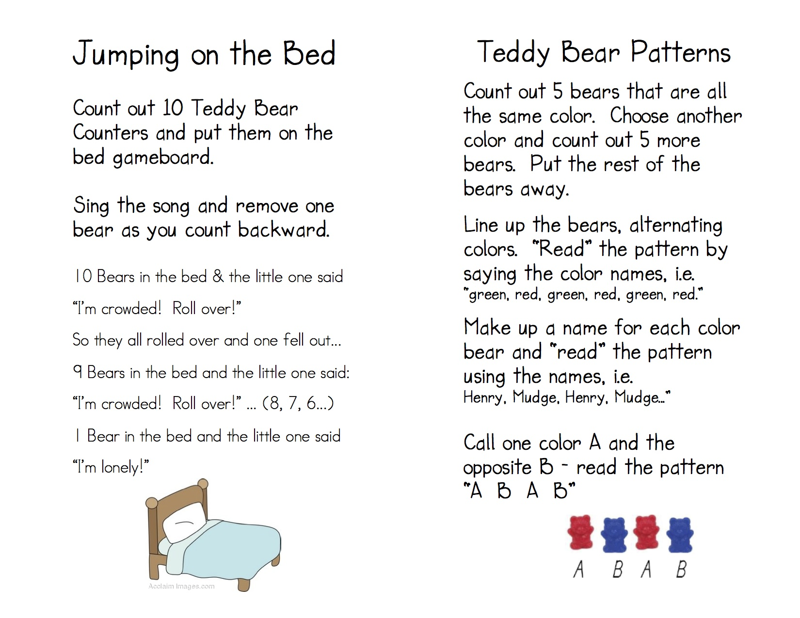worksheet Teddy Bear Worksheets teddy bear counters kindergarten nana game directions 4