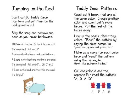 Teddy Bear Game Directions 4