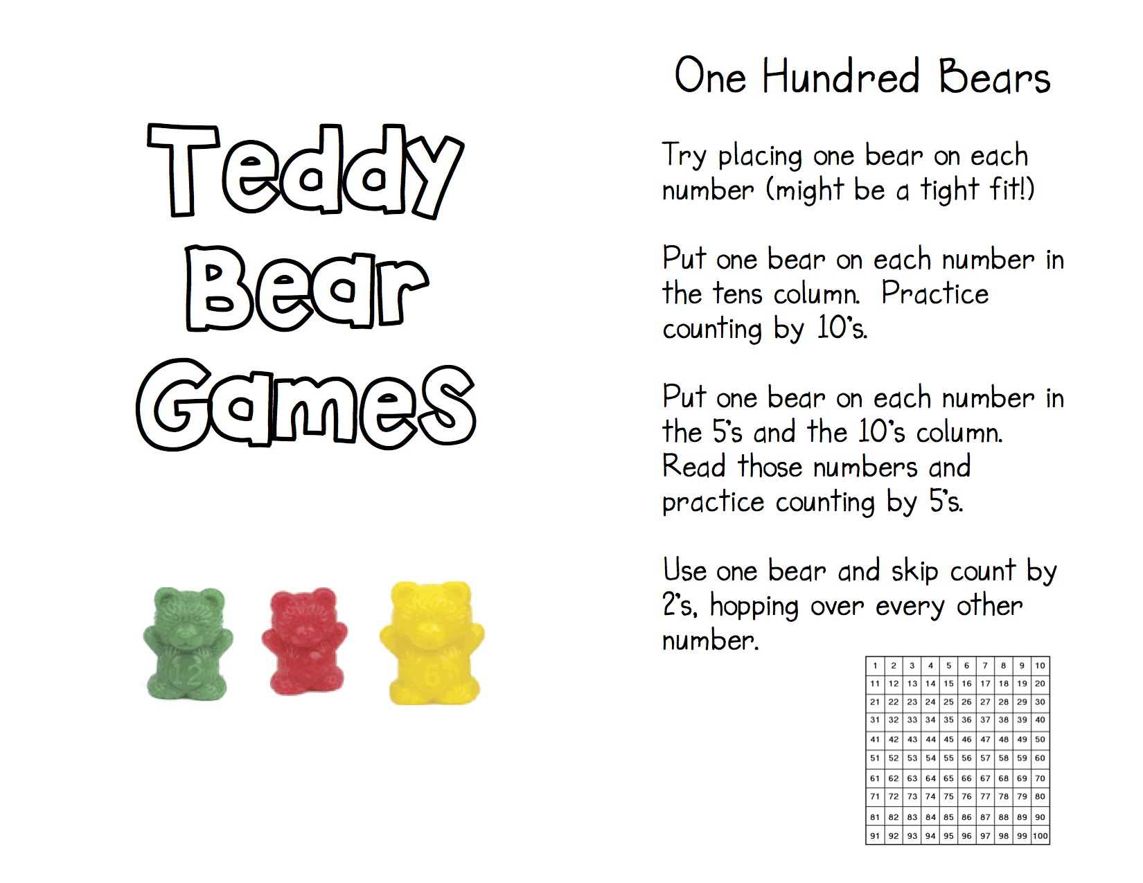 worksheet Teddy Bear Worksheets teddy bear counters kindergarten nana game directions