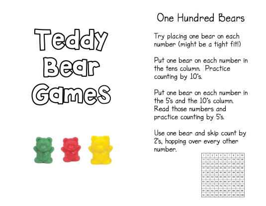 Teddy Bear Game Directions