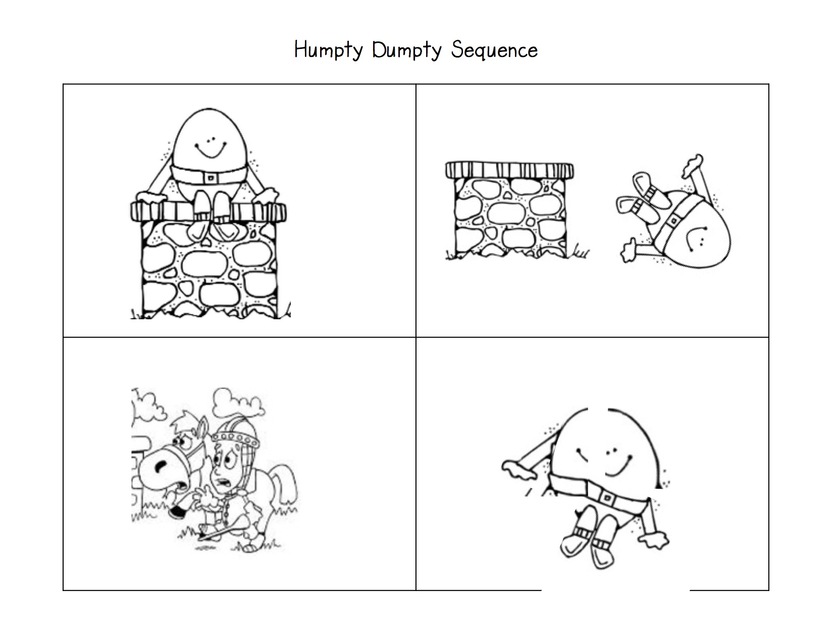 Humpty Dumpty Sequence on story sequencing humpty dumpty