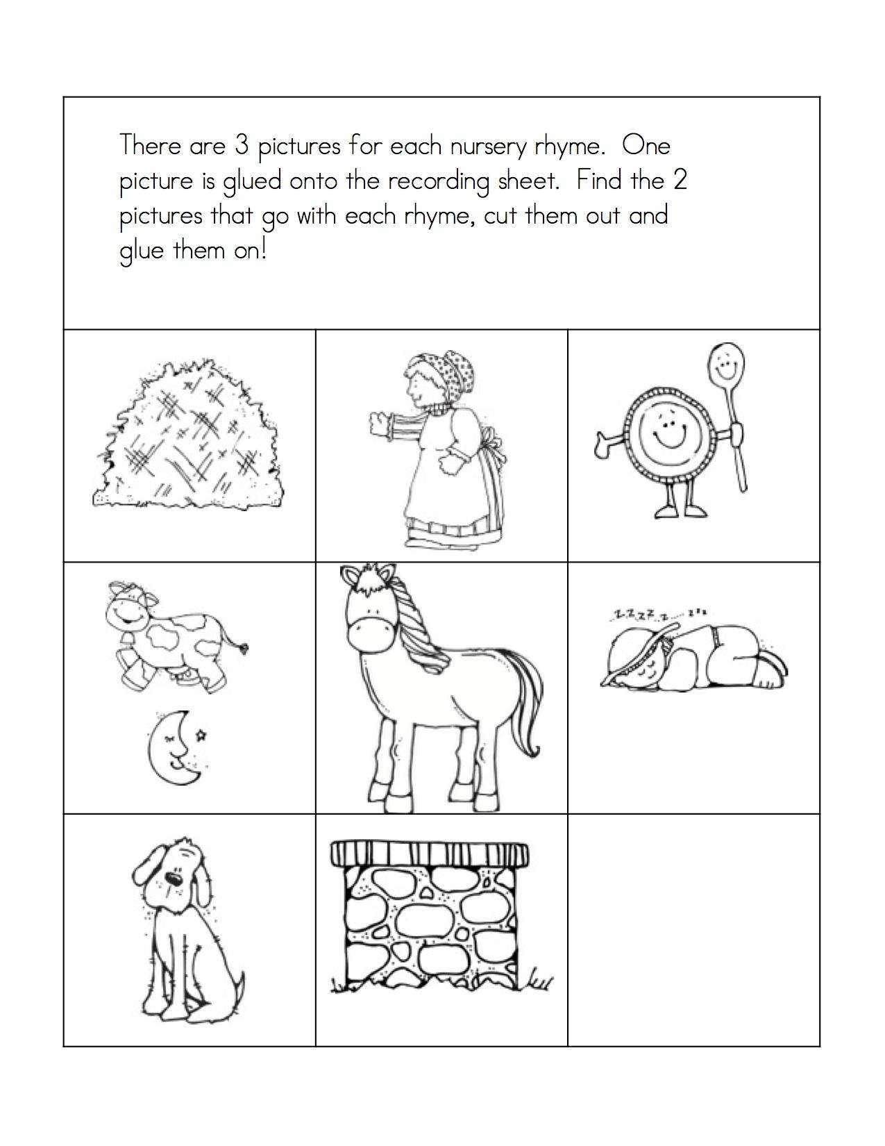 worksheet Words That Rhyme With Work more fun with nursery rhymes kindergarten nana matching game 2