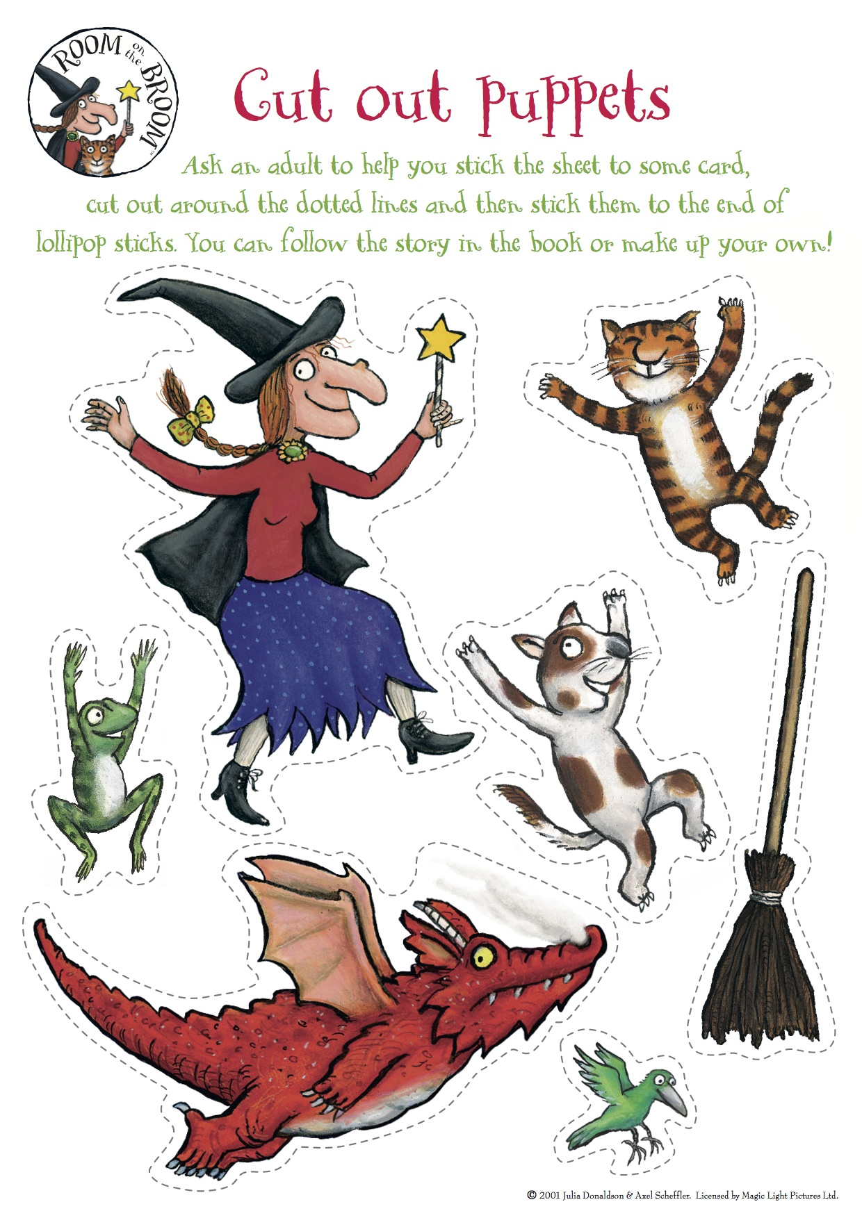 cut out character template - room on the broom kindergarten nana
