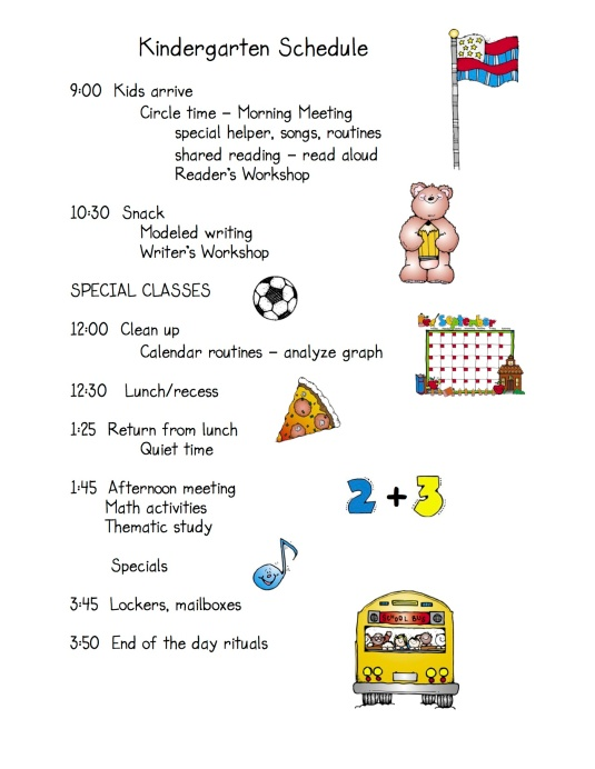 Daily schedule Kdg