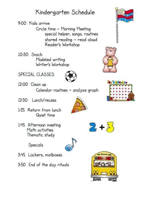Daily schedule Kdg