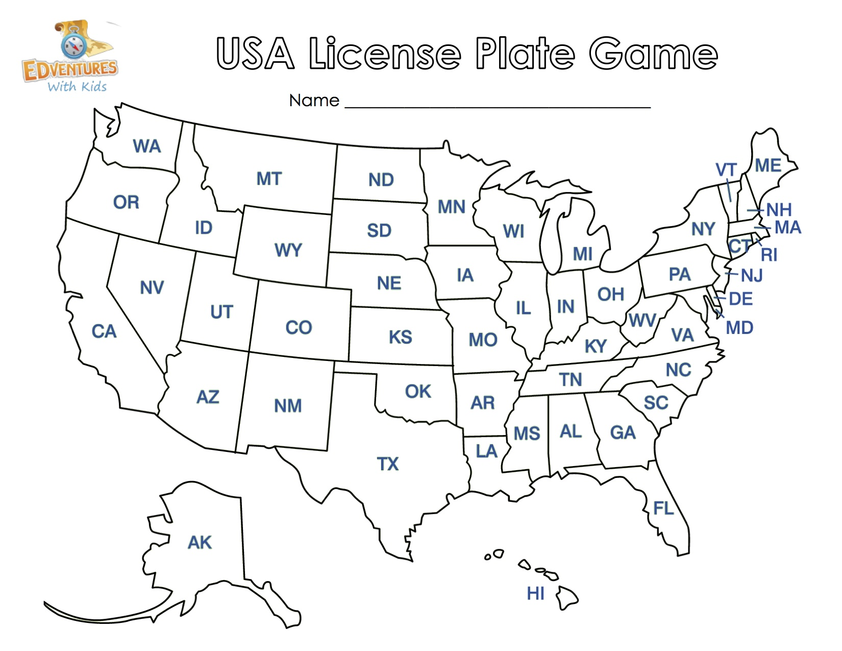 image regarding License Plate Game Printable called license-plate-map-video game-kcedventures Kindergarten Nana